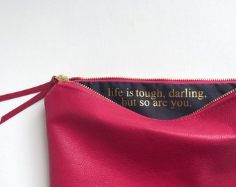 Custom Message Genuine Leather Fold Over Clutch. Berry Pink
