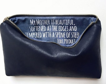 Mother's Day Gift for Mom Under 50. Navy Leather Makeup Clutch Bag with Inspirational Quote