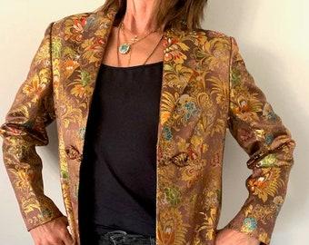 Vintage 1930 Gold Chinese Jacket in Silk Satin Brocade