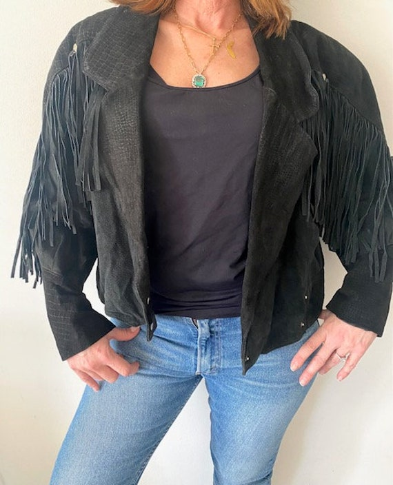 80's G-III Fringe Jacket, Black, Medium