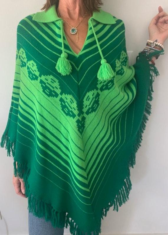 Vintage 70's Poncho, Green Poncho