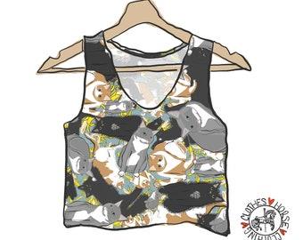 Multicolor Rhode Island Landmark Print Stretch Cotton Jersey Crop Tank Top