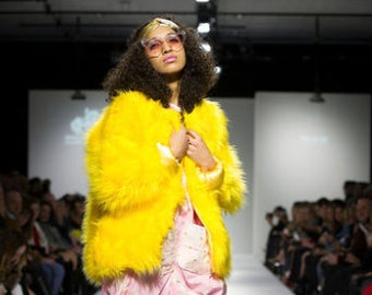 e6856d4045c23 SAMPLE One of a Kind Oversized Mid Length Yellow Faux Fur Jacket with  Yellow Sateen Lining.