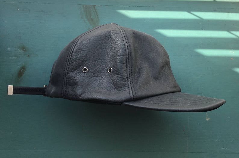 90s Janet Jackson Black Leather Baseball Hat Cap Made in USA  725ae19232a