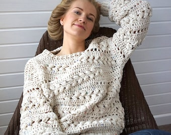 Crochet Sweater Pattern PDF - Sensum Sweater - cabled sweater pattern in English