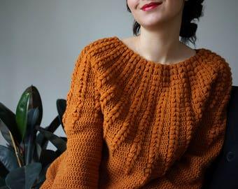 44c90b66dccc2 Crochet Sweater pattern PDF - Goldenrod Sweater - top down one piece  crochet pattern in English