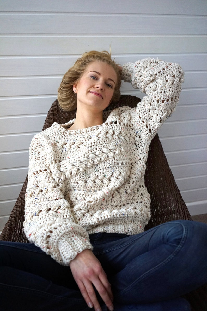 Crochet Sweater Pattern PDF  Sensum Sweater  cabled sweater image 0