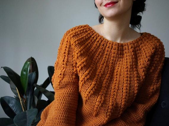 Crochet Sweater Pattern Pdf Goldenrod Sweater Top Down One Etsy