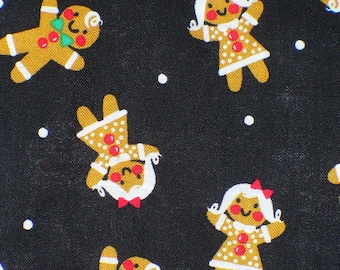 Gingerbread Men, Christmas Fabric, Gingerbread Girls,  Tossed Gingerbread Men Cookies, Christmas Cookies, By the Yard, Cotton Fabric