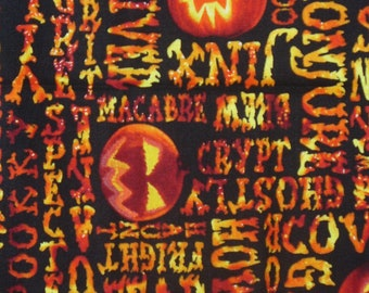 Halloween Fabric, Scary Words, Glow in the Dark, Halloween Words, Jack O Lanterns, By the Yard,  Cotton Fabric