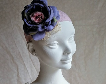 Bohemian flower wedding headpiece in blue and pink. Shabby chic bohemian bridal headband. Handmade headband in blue and pink.