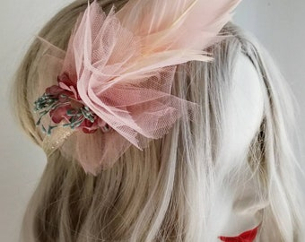 Romantic wedding headband with dusty rose flowers and feathers. Bohemian bridal accessory. Handmade ethereal wedding headpiece. Free ship.