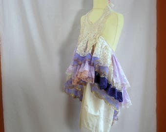 Girls size 8. Pink purple beige bohemian flower girl. Mori Girl dress with loads of lace. Rustic flower girl.