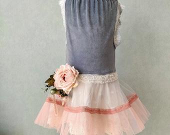 Cotton velvet tutu dress. Girl size 7 years. Dusty blue. Ivory flower girl dress. Vintage look. Birthday girl dress. Girl size 6 years.