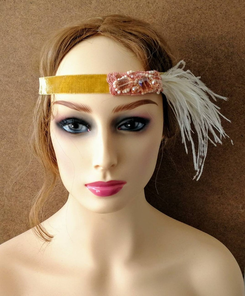 yellow and pink beaded headpiece 1920s wedding wedding headband with embroidery Beaded flapper headpiece retro style headband