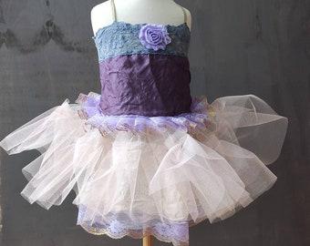 Rustic flower girl dress. Purple tutu dress. Pink birthday dress. Size 3 years. One of a kind. Upcycled wedding. Slow fashion.