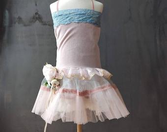 Tutu dress. Girls size 6 years. Vintage look. Cotton velvet dress. Dusty blue. Light pink. Flower girl dress. Pink. Birthday girl dress.