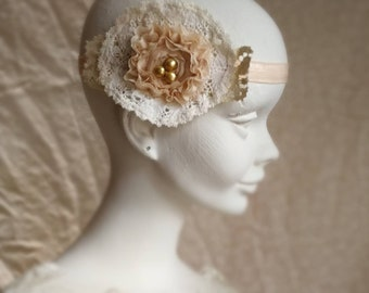Beaded bridal vintage lace headband. Vintage doily wedding headpiece in white and peach. Shabby chic bohemian bridal headband.