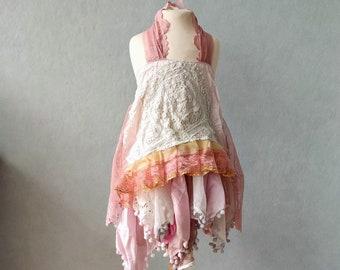 Tattered flower girl dress. Girls size 5. Mori girl dress. Rustic flower girl. Cottage chic dress. Hippie wedding. Hippie girls dress.