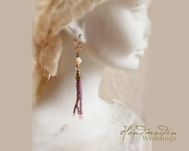 Handcrafted wedding jewelry Bohemian wedding dangle earrings in muted lilac and vintage ivory One of a kind bohemian.