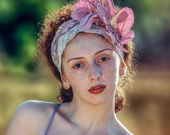 Bohemian floral headpiece: mauve boho wedding headband with dusty rose velvet leaves and dusty rose lace. Handmade wedding hairpiece.