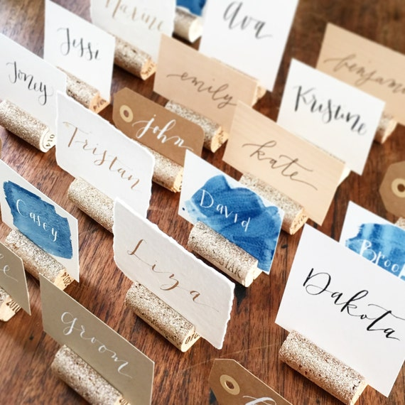 Glitter Wedding Place Card Holder Wine Cork Place Card Etsy