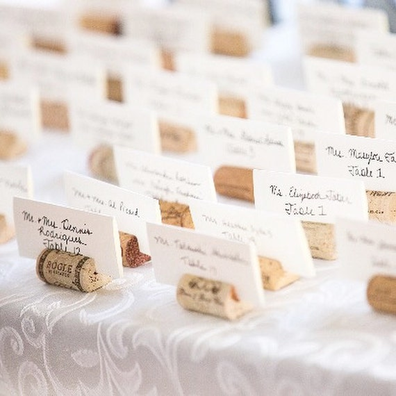 Recycled Wine Cork Place Card Holder Place Cards Wedding Etsy