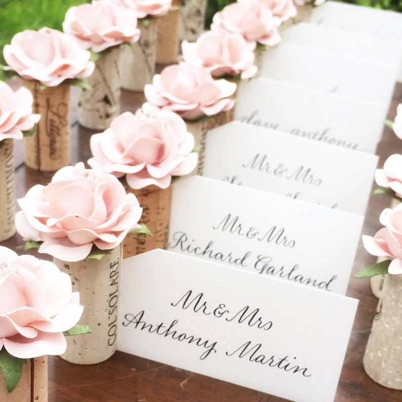 Wine Cork Place Card Holder. Winery Wedding Decor. Seating 4 - Sweet Pink