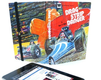 Start Your Engines with Drag Racer Tablet Case Made from Retro Book, [*Kindle Fire, Paperwhite, *Nexus 7, *Galaxy Tab, *Nook Color]