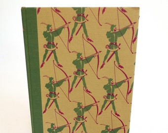 Robin Hood Tablet Case, Made from Vintage Book with Archers, Green Corduroy Lining, Fits iPad Mini, 7 inch Kindle Fire, Nook, LG Pad