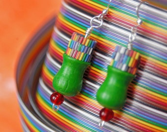 Upcycled Chinese Checker Earrings, Green Wooden Pegs with Rainbow Detail, Sterling Silver Posts