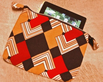 Art Deco iPad Bag Upcycled from Designer Skirt with Red, Orange, Brown Geometric Print, Fits Fire HD 8.9 and Nook HD Plus
