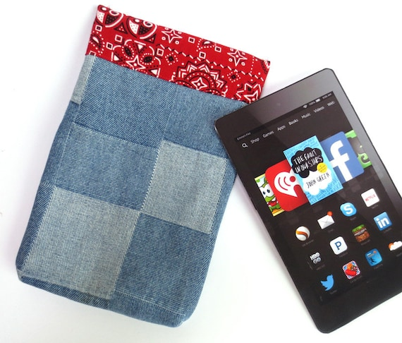 Cowboy Kindle Cover with Patchwork Denim, Red Bandana Lining, fits  Paperwhite, Voyage, Fire HD6, Nook 4 more