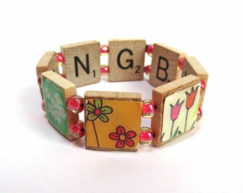 Nothing but Flowers Scrabble Bracelet, with Colorful Images of Tulips, Daisies and More Flowers