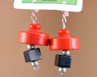 Retro Wooden Earrings Upcycled from Pieces from 1970s Booby Trap Game, Red, Black and Sliver, sterling silver wire