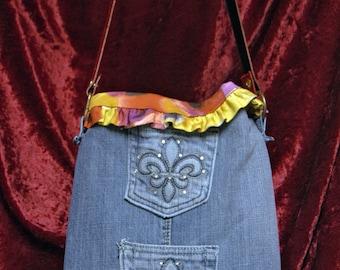 Flirty Denim Shoulder Bag with Rhinestone Pockets, Red Leather Strap, Ruffled Flowery Lining, Upcycled from Designer Skirt, Belt, Blue Jeans