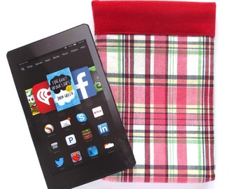 Preppie Red and White Plaid Kindle sleeve with Red Corduroy Lining, fits Paperwhite, Voyage, Fire HD6, Nook 4 more