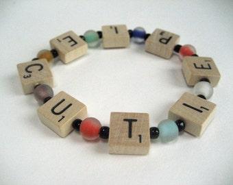 Mini Scrabble Tile Bracelet that Spells Cutie Pie, with Multicolor Glass Beads