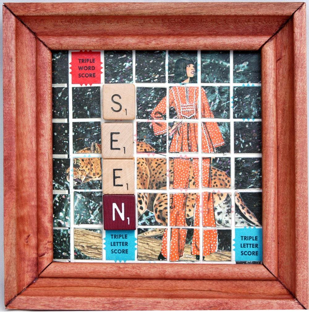 Scrabble Board Wall Art With Vintage Fashion Figure Animal