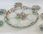 Round colorful Passover plate&6 small colorful bowls fused glass handmade by DALIT-GLASS dalitglass