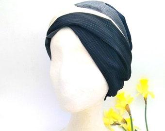 Tailored fabric bandana, two-loop turban with velcro. Yoga bandana. Bandana style. Turban fashion.