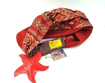 Cheerful red bandana, nice and flattering. Yoga bandana. Red velcro turban. Adjustable bandana.