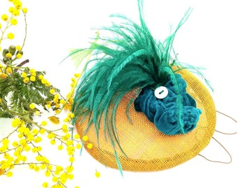 Golden yellow  and turquoise blue sinamay headdress. Wedding guest fascinate . Designer fascinate for women . Unique guest headdress