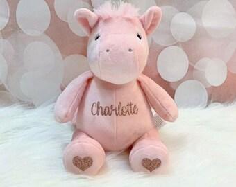 Personalized Pink Unicorn Plush for Baby Girl Unicorn Stuffed Animal Flower Girl Gift Newborn Gift First Birthday Gift Birthday Present & First birthday gift | Etsy