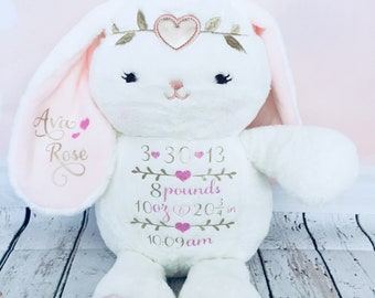 Baby Girl Personalized Birth Stat Bunny Newborn Gift Present Plush Flower First Birthday Keepsake