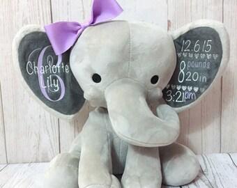 Birth Stat Elephant Etsy