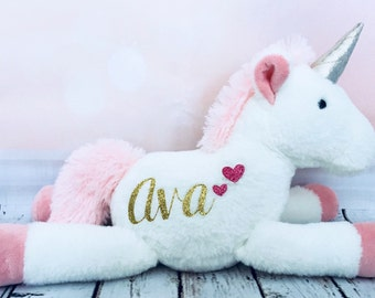 Personalized Unicorn Plush For Baby Girl Stuffed Animal Flower Gift Newborn First Birthday Present