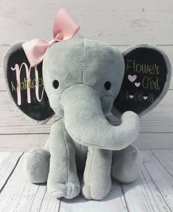 Personalized Elephant Flower Girl Gift Keepsake Gift Stuffed Animal Personalized Flower Girl Present Wedding Gift