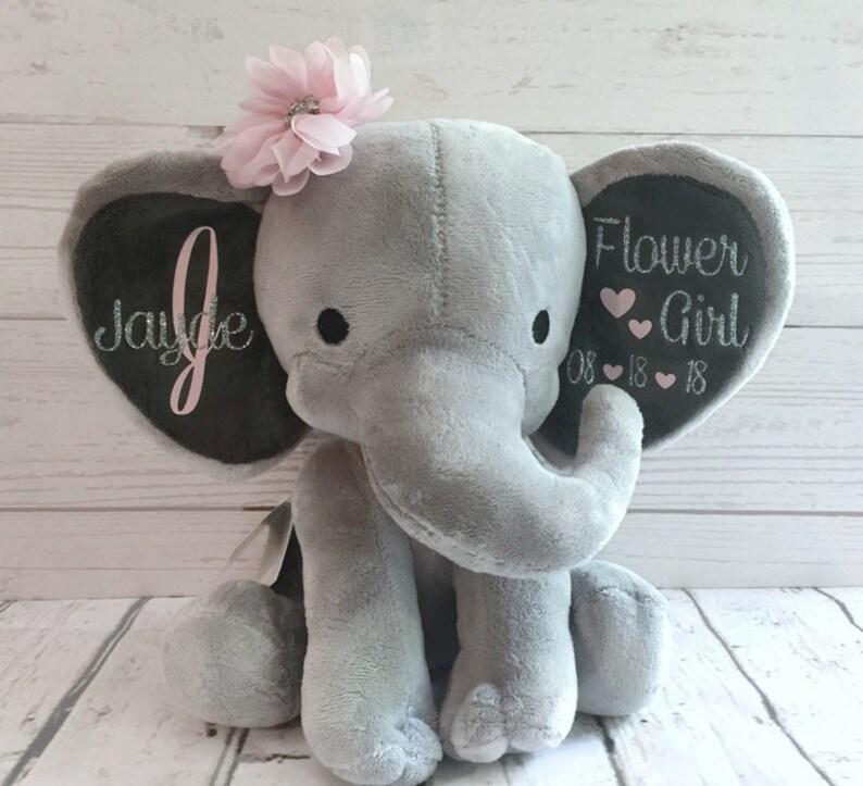 Personalized Elephant Flower Girl Gift Jr Flower Girl Gift Keepsake Gift Stuffed Animal Personalized Flower Girl Present Wedding Gift