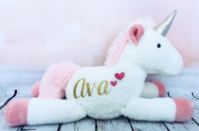 Personalized Unicorn Plush for Baby Girl Unicorn Stuffed image 0